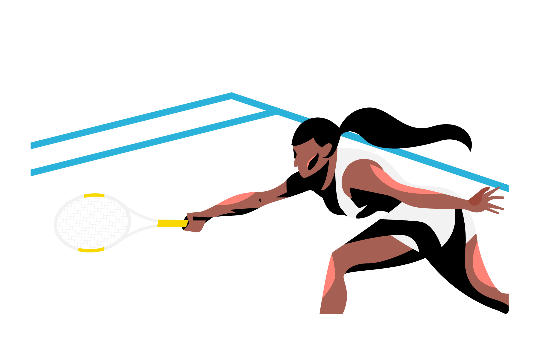 tennis player cartoon stretching