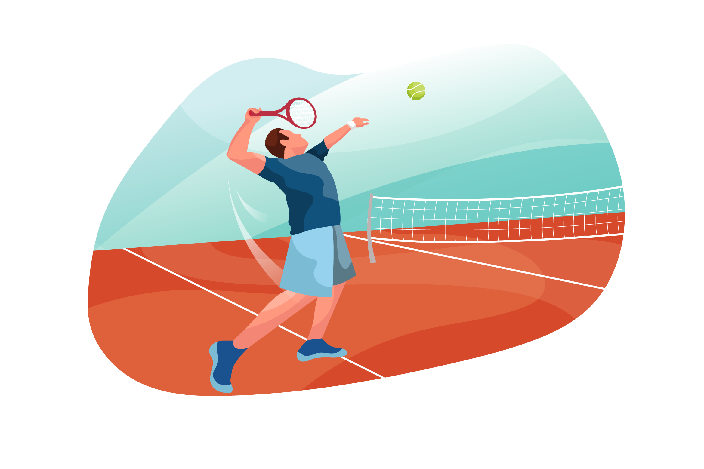 male tennis player drawing of a serve