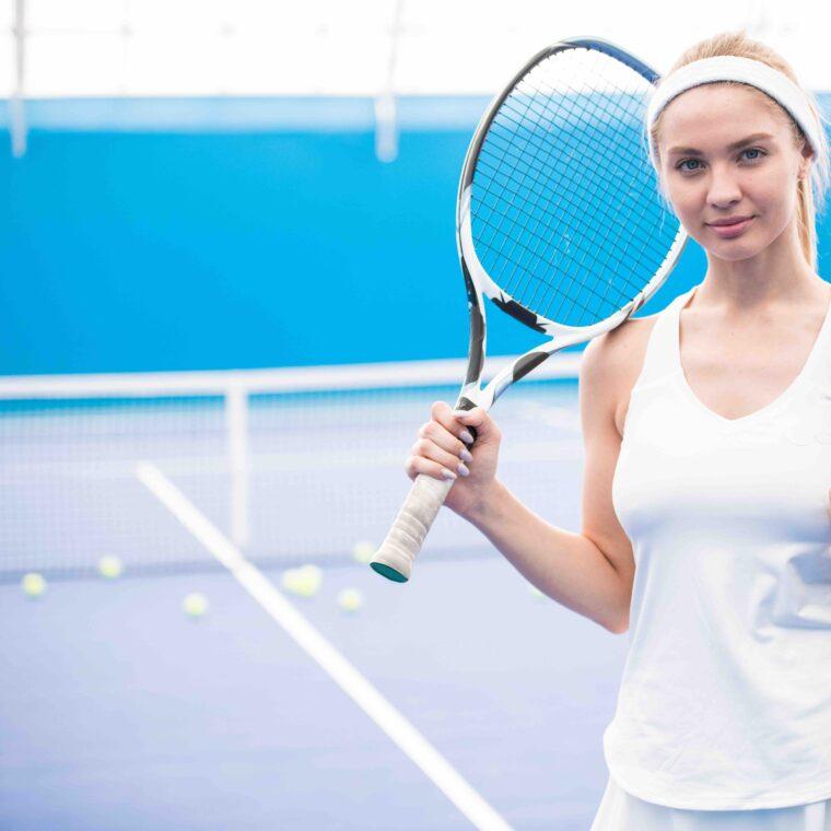 Blonde Tennis Player on Court